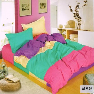 Welhouse India Elegant Ultra- Green color Double Bedsheet With Two Pillow covers