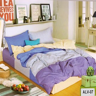 Welhouse India Elegant Ultra-Voilet color Double Bedsheet With Two Pillow covers