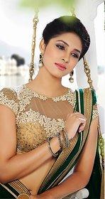 Vardhini Brown & Sky Blue Brocade Lace Saree With Blouse
