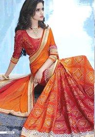 Vardhini Peach & Orange Brocade Printed Saree With Blouse