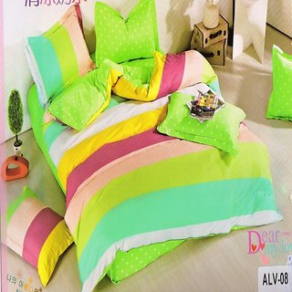 Welhouse India Elegant Ultra-Green color Double Bedsheet With Two Pillow covers