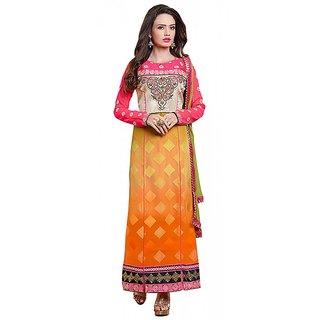 Khoobee Presents Embroidered Georgette Dress Material(Pink,Orange)