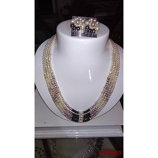 Designer pearls set with NATURAL PEARLS, zircon  silver finish