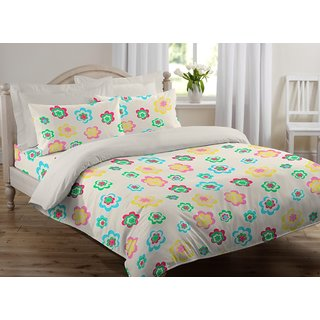 Welhome by Welspun Snapshot Cotton Double Bedsheet With 2 Pillow covers - PEACH