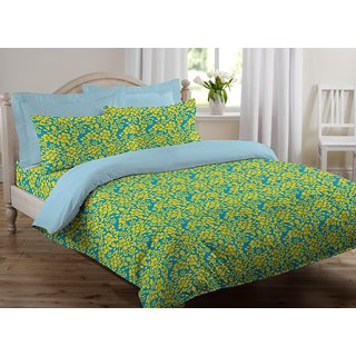 Welhome by Welspun Snapshot Cotton Double Bedsheet With 2 Pillow covers - PEACOCK