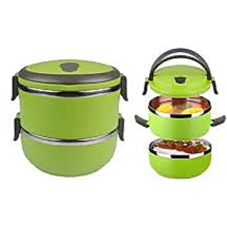 2 Layer Stainless Steel Lunch Box Is Made Of Food-Grade Material (Assorted color)