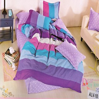 Welhouse India Elegant Ultra-Purple color Double Bedsheet With Two Pillow covers