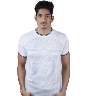 Mavango Divine Ganesh Print White & Grey Round Neck Regular Men's Cotton T Shirt