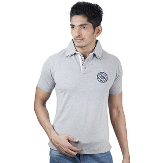 Mavango Go Getter Solid Grey Polo Neck Regular Fit Men's Cotton T Shirt