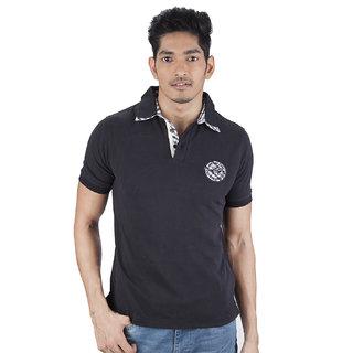 Mavango Go Getter Solid Black Polo Neck Regular Fit Men's Cotton T Shirt