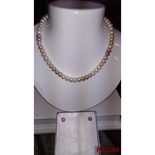 NATURAL FRESHWATER PEARLS NECKLACE SET with round multicolor pearls
