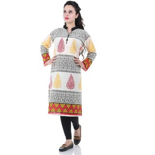 Factory Direct Multicolor Printed Dupion Silk Stitched Kurti