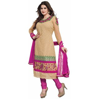 Florence Zareen Khans Embrodried Cream Georgette Dress Material (SB-1464)