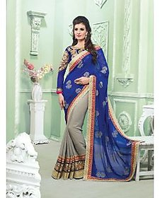 Vardhini Gold & Black Brocade Embroidered Saree With Blouse