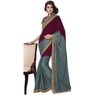 Shree Fashion Hub Wine And Sea Green With Work Blouse Designer Sari
