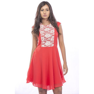 Corel With Lacy Fabric Dress