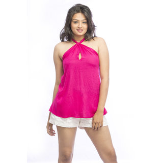 Pinwheel Pink Rayon Halter Top