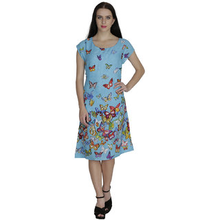 Svt Ada Collection Cotton Blue Color Printed One Piece Elegant Dress