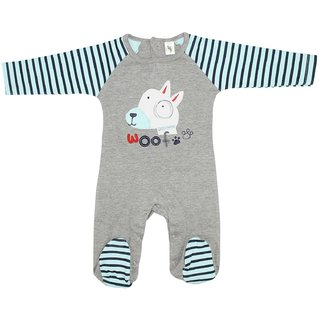 Cucumber Full Sleeves Patch Work Baby Footed Romper Grey and Cyan, 3-6  6-9 Months