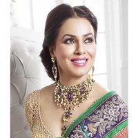Kriaa Mithya  Purple Kundan, Austrian Diamond Stone Necklace Set