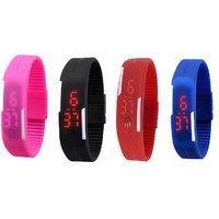Shoppingekart Pack Of Pink, Black, Red And Blue Led Watch For Men, Women, Boys, Girls