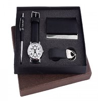 Ferry Rozer Combo Gift Set Of White Dial Watch, Card Ho