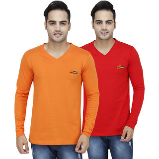 PRO Lapes Cotton Full Sleeves V-Neck T-Shirt Set of 2