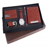 Ferry Rozer Gift Set Of White Dial Watch, Wallet, Card