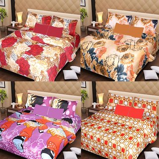 Akash Ganga Beautiful Combo of 4 Double Bedsheets with 8 Pillow Covers (AG1250)