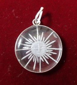 Sphatik Pendant with engraving  Sun  KZMP010