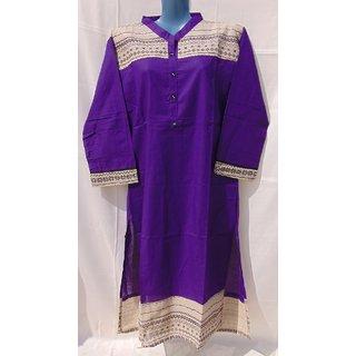 Sehrish Long Khadi Print (Purple)