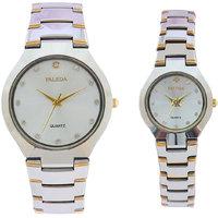 Faleda Quartz Analog Couple Two Tone Watch P-683TTW Standard