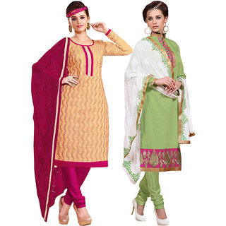 Parisha Blue Cotton Embroidered Salwar Suit Dress Material (Pack of 2) (Unstitched)