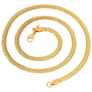 The Jewelbox Stainless Steel Gold Plated Snake Smooth Herringbone Chain 21