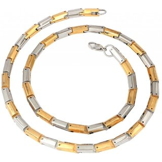 The Jewelbox Mens Stainless Steel Gold Rhodium Stif Smooth Snake Heavy Chain 22