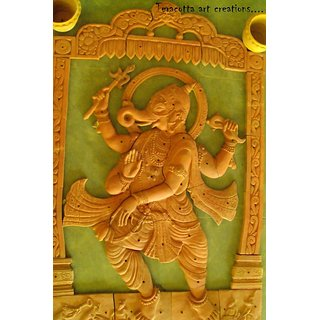 Dancing Ganesha - Terracotta mural art (size-6 feet into 4 feet)