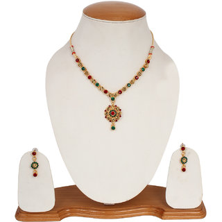 Shopping Villa Mutlicolor traditional pendant set with earings