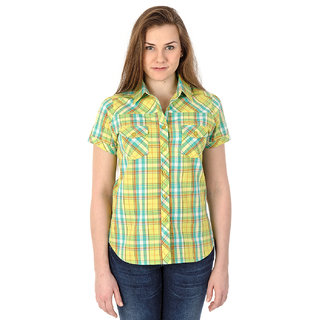 Mavango Multicolored Plaid Short Sleeved Casual Shirt For Women_M54201B05CS