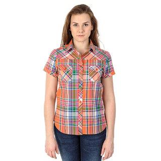 Mavango Multicolored Plaid Short Sleeved Casual Shirt For Women_M54201C05CS