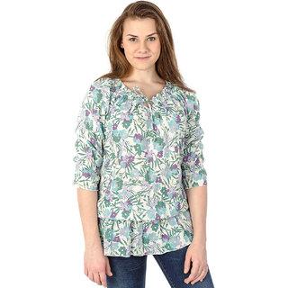 Mavango Slim Fit Printed Blue T-shirt for Women_M54806C05PC