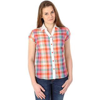 Mavango Multicolored Check Short Sleeved Casual Shirt For Women_M54202A05CS