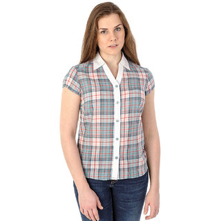 Mavango Multicolored Plaid Short Sleeved Casual Shirt For Women_M54202B05CS