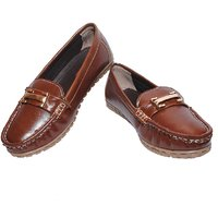 Richiee Brown Faux Leather Moccasins