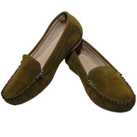 Richiee Olive Green Imported Velvet Leather Moccasins