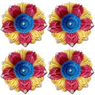 Diya - Unique Arts multicolored flower shaped Designer Diyas - Set of 4