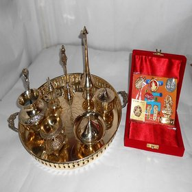 Antique/Traditional Brass Pooja Thali With Dhan-Laxmi Y