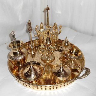 Antique/Traditional Brass Pooja Thali With Brass Laxmi Ganesha Statue Free!!!!!