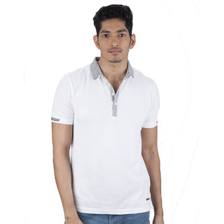 Mavango Dude Look White Polo Neck Regular Fit Men Cotton T Shirt
