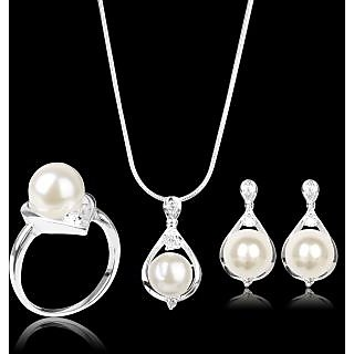 Womens .925 Sterling Silver Plated Water Drop Pearl Pendant Necklace Earrings Ring Jewelry set
