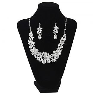 Fashion Bridal Jewelry Rhinestone Flower Shape Necklace Earring Set for Wedding Party Favors
